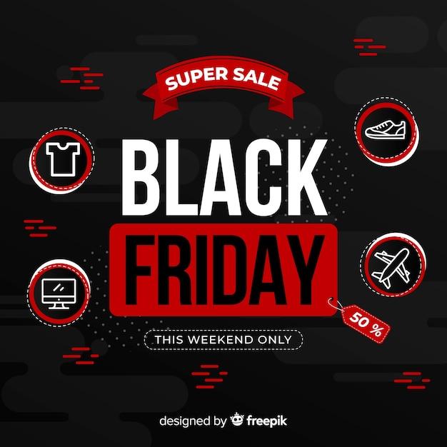 Концепция черной пятницы с супер продажей Бесплатные векторы
