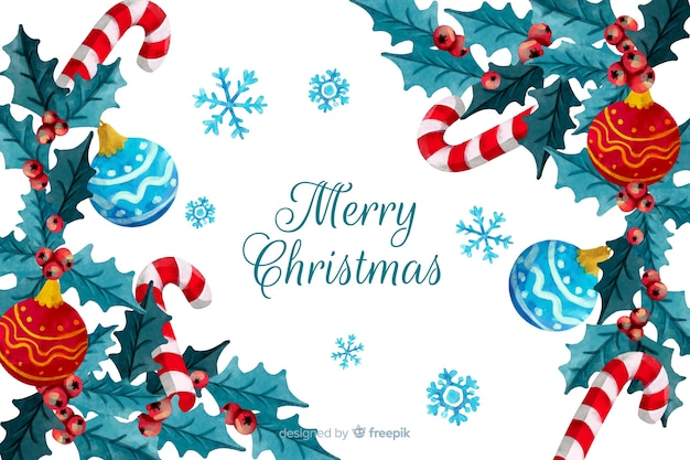 水彩画背景でクリスマスコンセプト 無料ベクター