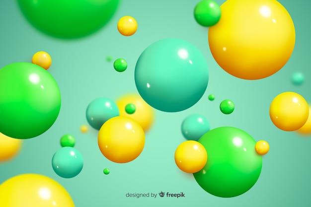 背景の光沢のある流れる球 無料ベクター