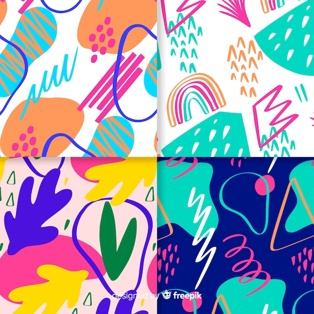 手描き抽象模様コレクション 無料ベクター