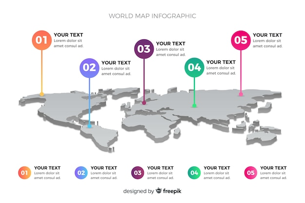 世界地図ビジネスインフォグラフィック 無料ベクター