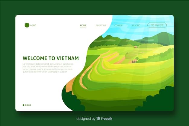 Добро пожаловать на целевую страницу вьетнама Бесплатные векторы