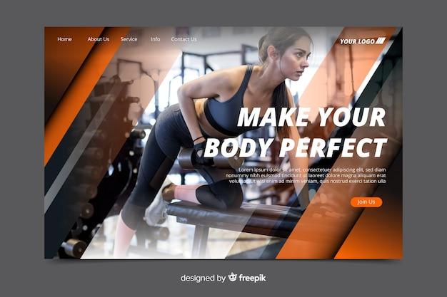 あなたの体を完璧なジムプロモーションランディングページにする 無料ベクター