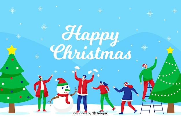 Рождественская концепция с плоским фоном дизайна Бесплатные векторы