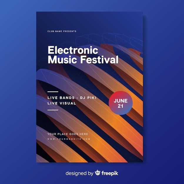テンプレートの抽象的な電子音楽ポスター 無料ベクター