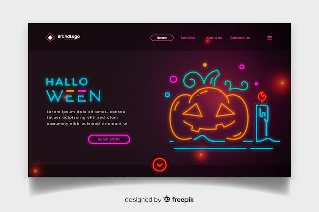 Неоновая целевая страница хэллоуина с тыквой Бесплатные векторы