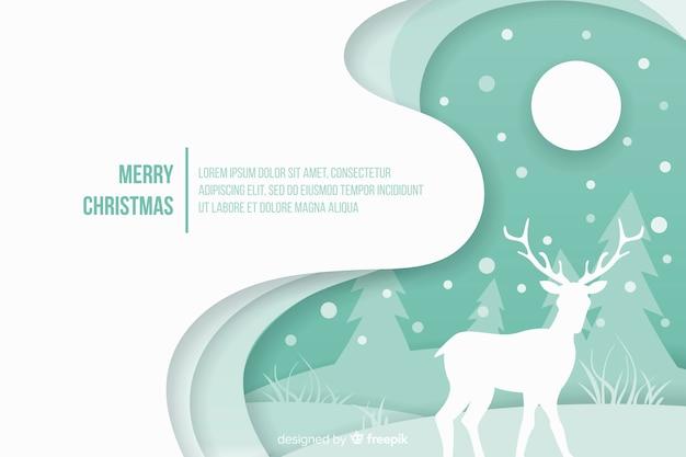 紙スタイルの背景を持つクリスマスコンセプト 無料ベクター