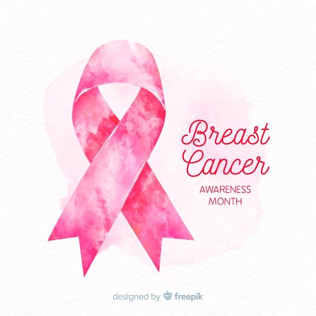 Акварель розовая лента для символа осведомленности рака молочной железы Бесплатные векторы