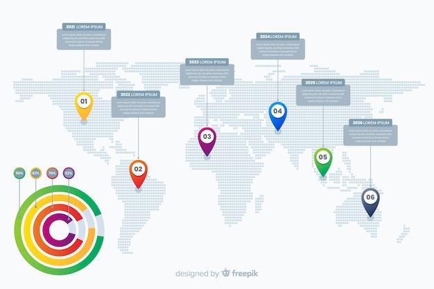 Профессиональная инфографика с картой мира Бесплатные векторы