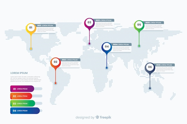 Карта мира профессиональная инфографика Бесплатные векторы