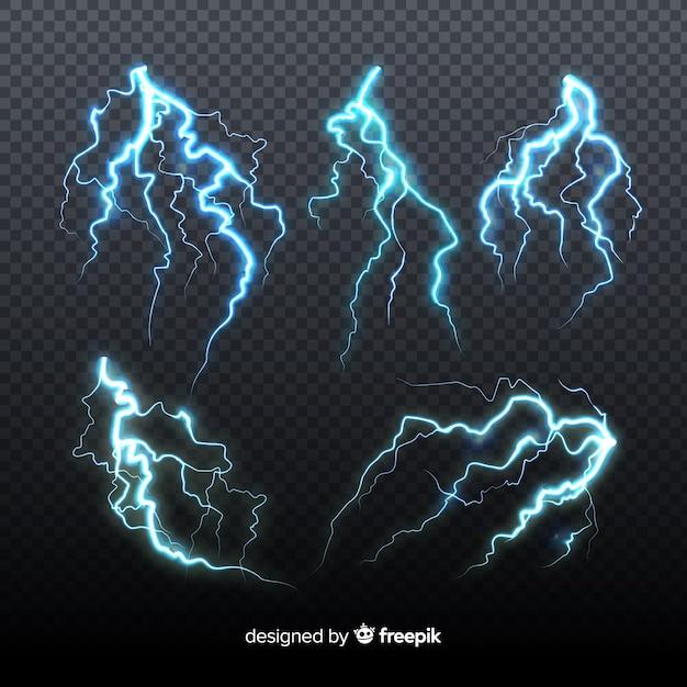 透明な背景に青い稲妻のセット 無料ベクター