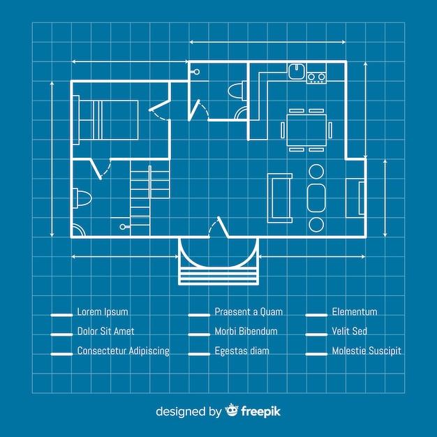 家のスケッチ計画の青写真 無料ベクター