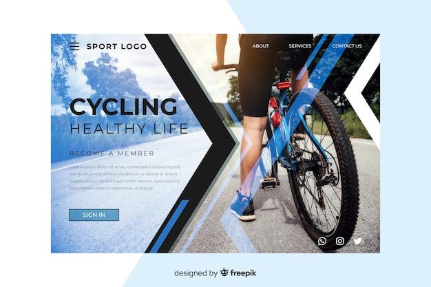スポーツサイクリングのランディングページ 無料ベクター