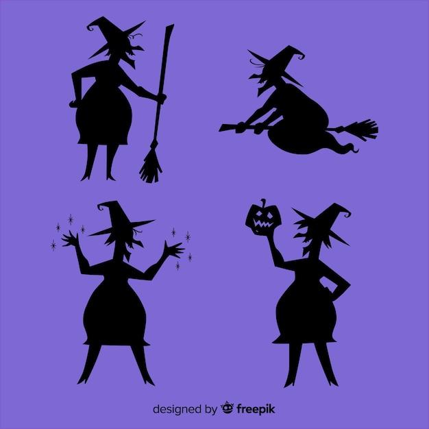 ハロウィーン魔女のシルエット 無料ベクター