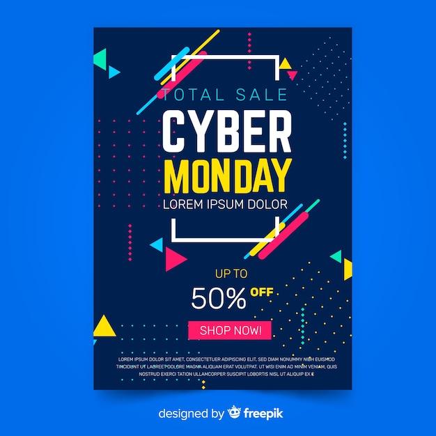 Плоский дизайн кибер понедельник флаер шаблон Бесплатные векторы