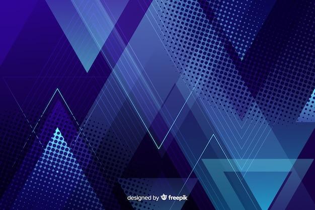暗い青の幾何学的図形の背景 無料ベクター