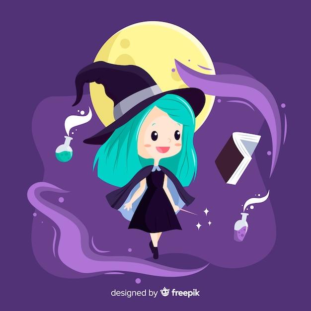 魔法のかわいいハロウィーン魔女 無料ベクター