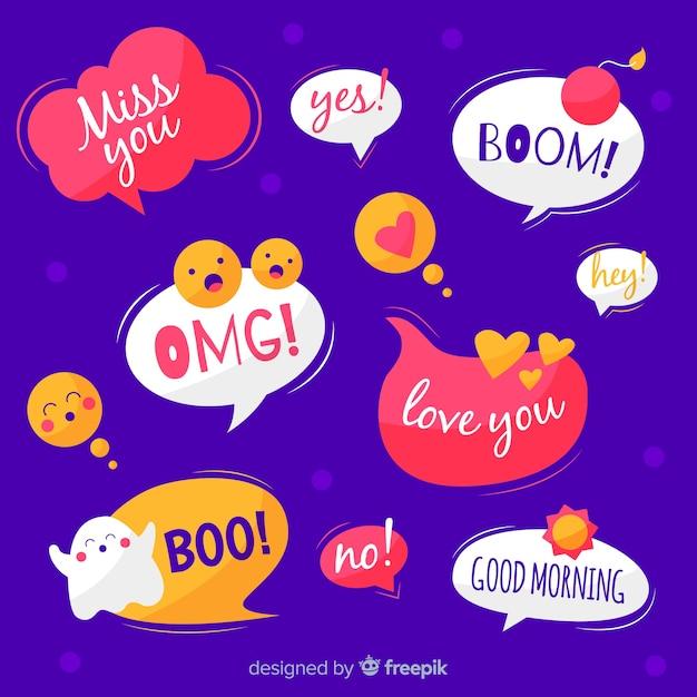 Рисование пузырей речи с выражениями Бесплатные векторы