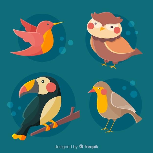 かわいい鳥コレクション漫画を描く 無料ベクター