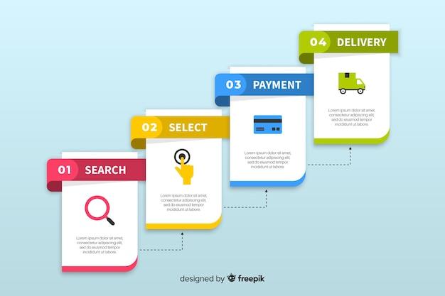 Инфографики шаги в плоском дизайне Бесплатные векторы