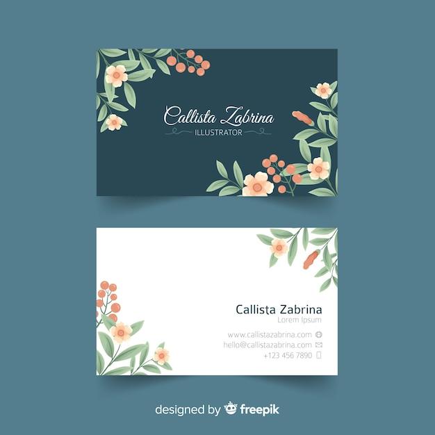 Элегантный цветочный шаблон визитной карточки Бесплатные векторы