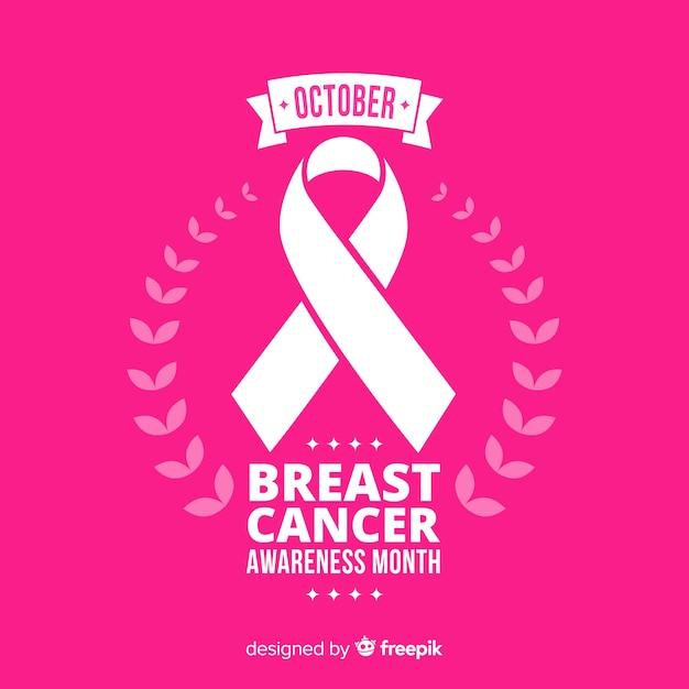 リボンで平らな乳がんの意識 無料ベクター