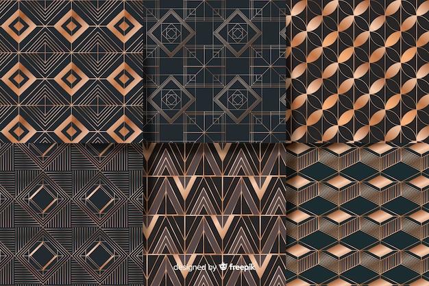 幾何学的な高級パターンセット 無料ベクター