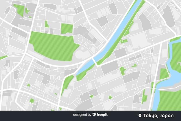 デザインをナビゲートするための色分けされた市内地図 無料ベクター