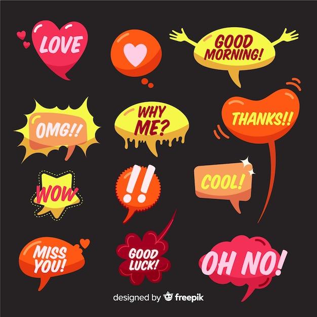 Нарисованные от руки речевые пузыри с разными выражениями Бесплатные векторы