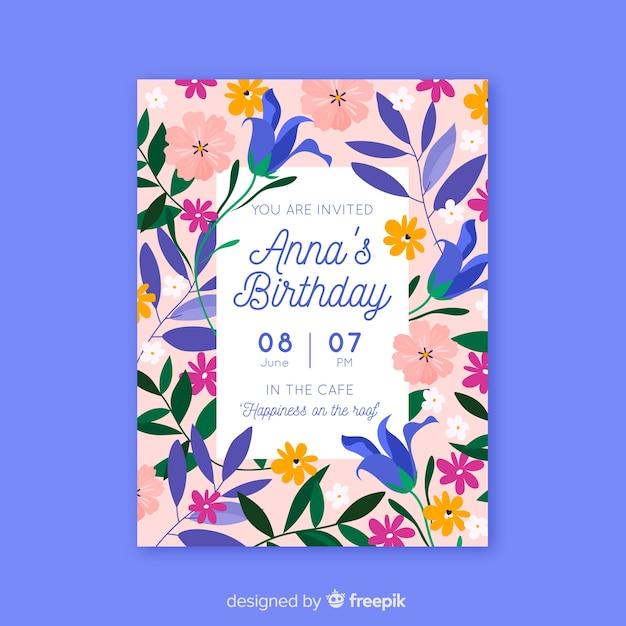 カラフルな花の誕生日の招待状のテンプレート 無料ベクター
