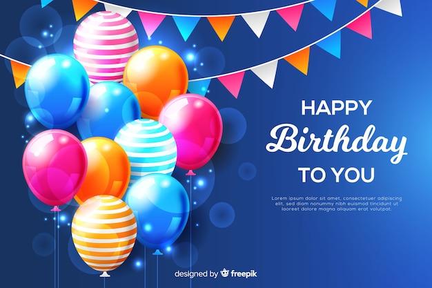 День рождения фон с реалистичными воздушными шарами Бесплатные векторы