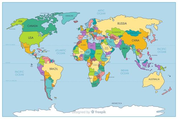 地理的な色の政治世界地図 無料ベクター