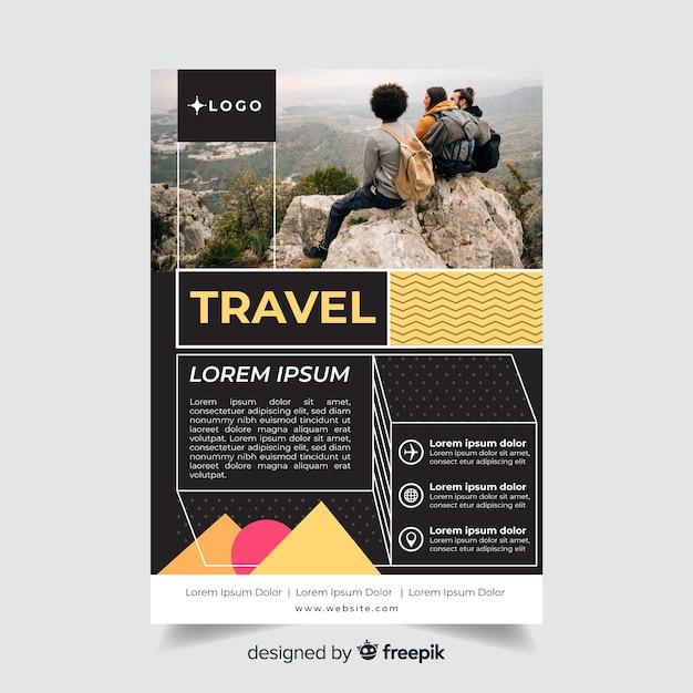 旅行者と旅行チラシテンプレート 無料ベクター