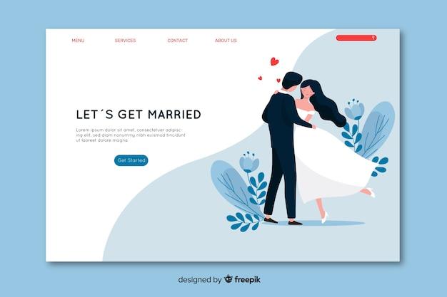 Красивая свадебная целевая страница Бесплатные векторы