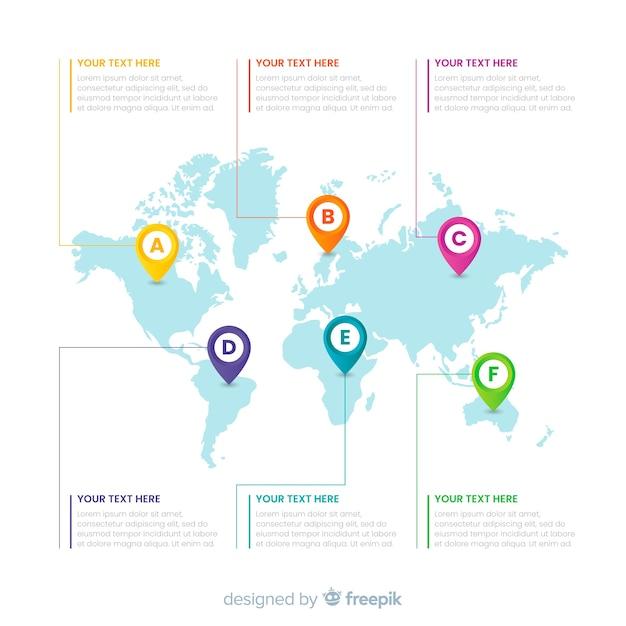 Бизнес инфографика с картой мира Бесплатные векторы