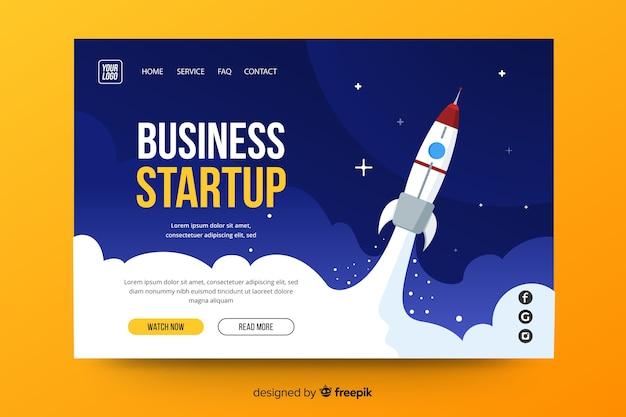 スタートアップ向けのビジネスランディングページ 無料ベクター