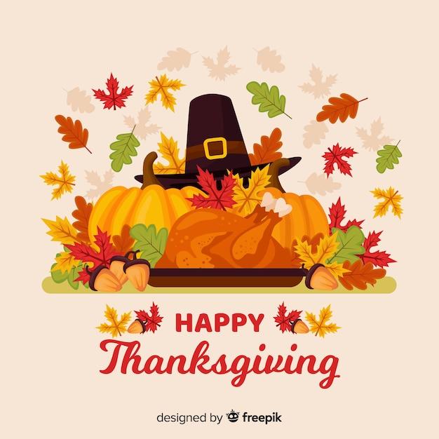 День благодарения фон в плоском дизайне Бесплатные векторы