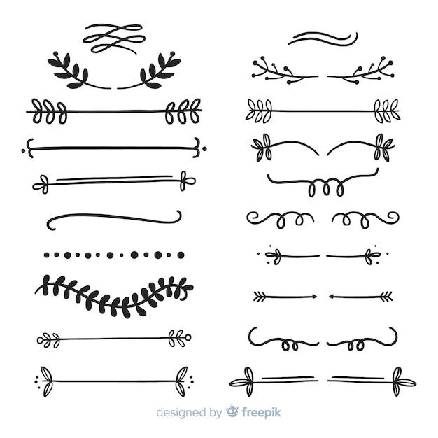 Декоративный набор рисованной делителя Бесплатные векторы