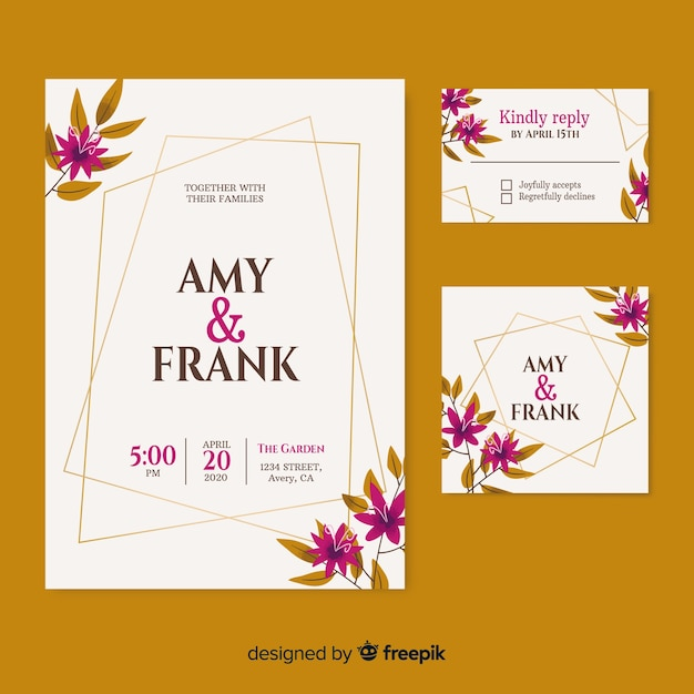 日付とカップルの名前のエレガントな結婚式の招待状 無料ベクター