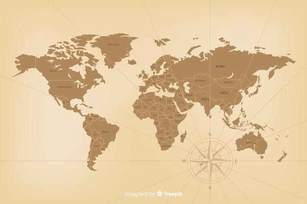 詳細なビンテージ世界地図コンセプト 無料ベクター