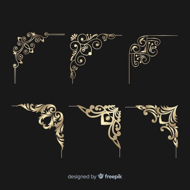 Набор золотых бордюров Бесплатные векторы