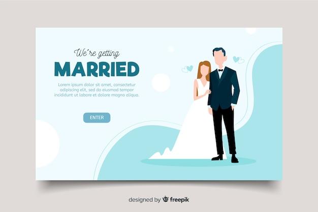 美しい結婚式のランディングページ 無料ベクター