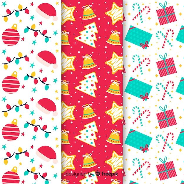 Плоский дизайн рождественской коллекции шаблонов Бесплатные векторы