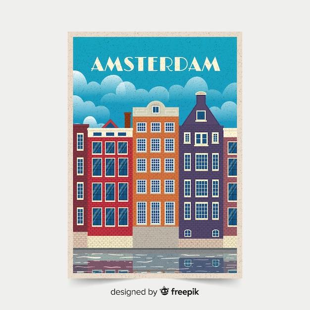 Ретро рекламный плакат амстердама Бесплатные векторы