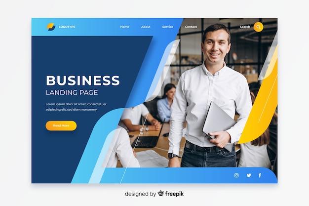 画像付きのビジネスランディングページ 無料ベクター
