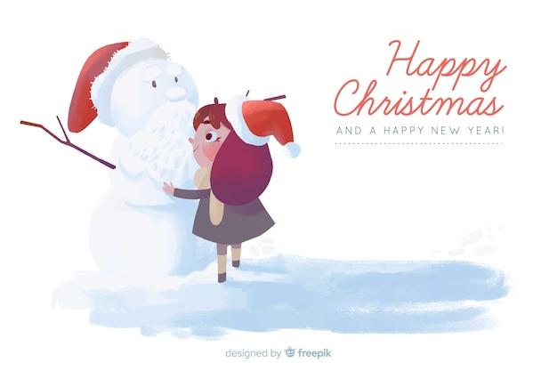 水彩のクリスマス背景 無料ベクター