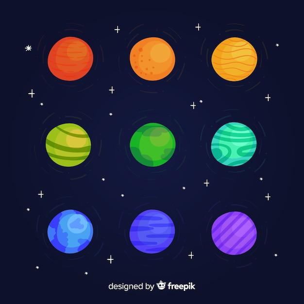 Ручной обращается красочная коллекция планеты Бесплатные векторы