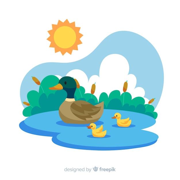 フラットなデザインの母鴨とアヒルの子 無料ベクター