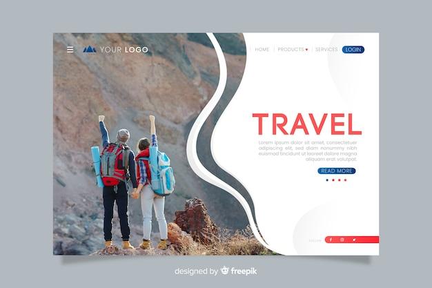 Целевая страница путешествия с фото Бесплатные векторы