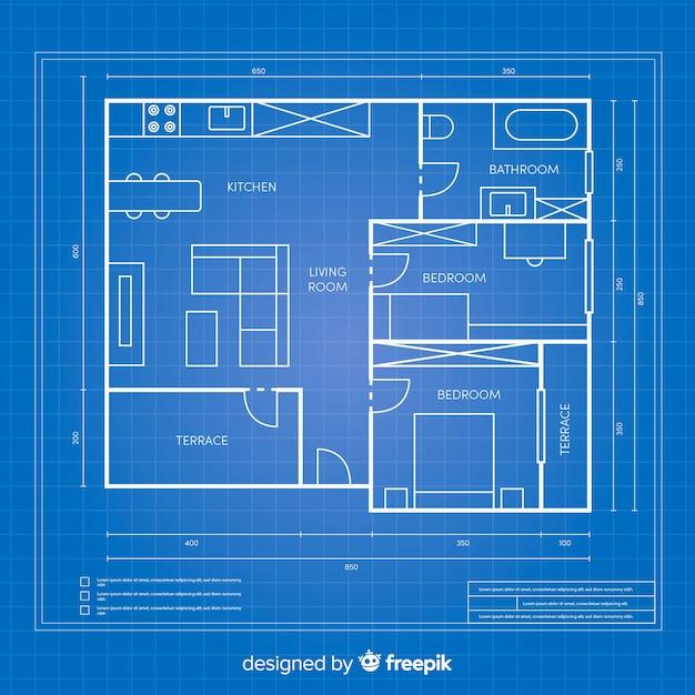 家のための青写真建築計画 無料ベクター